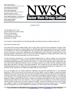 NWSC Letter to DOE re Assessment